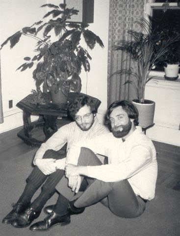Bruce and Peter in their Boston apartment, 1971.