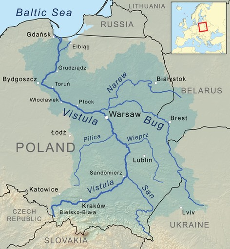 Vistula river map